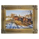 11880 畫作系列-油畫-農村-郝義-瑞雪豐年(已售出)