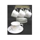 y11889 餐茶玻璃-咖啡茶具-花語呢喃骨瓷六杯盤附金架---無庫存