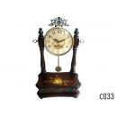 原木色手繪坐鐘 y11939 時鐘.溫度計.鏡子 桌鐘 -原木色手繪坐鐘(兩款雙色)