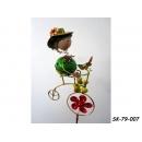 y11946 鐵材藝術-鐵插-鐵娃娃花插腳踏車 (兩款)