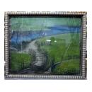 y12006 裝框裱褙相框系列-裱框成品參考-幾何紋銀箔框