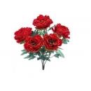 y12060 花藝設計-精緻人造花-牡丹花束-5頭-紅/束