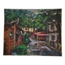 y12092 畫作系列-油畫-古厝系列-張凱洋 北埔老街