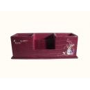 y12129 比得兔系列-鱷魚皮革系列-酒紅色刺繡多功能筆筒