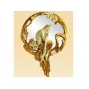 金邊長髮女人裝飾圓鏡 y12147時鐘.溫度計.鏡子 鏡子