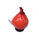y12183 燈飾系列-桌燈-手工琉璃-起家福氣燈 橘紅(茶色)(公雞、母雞)