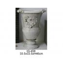 y12322_陶瓷花器_心型花朵白色花器
