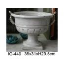 y12323_陶瓷花器_雙耳白色陶盆