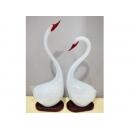 藝術玻璃-A4造型天鵝一對(大)(白色、黑色) y12349  水晶飾品系列 桌燈
