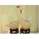 藝術玻璃-A63小天鵝燈 y12350 水晶飾品系列 桌燈 小天鵝燈一對茶色(白色)(水青)