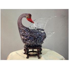藝術玻璃-A52造型天鵝 y12351 水晶飾品系列 桌燈 造型天鵝(中)(黑色、白色)
