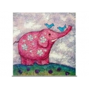y12378-油畫-動物麻絲畫 PT001粉紅大象W8''xH10''(另有多款可供選購)