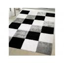 y12436 長毛地毯踏墊TANYA坦妮亞-黑白方格色(另有多種圖案)多種尺寸